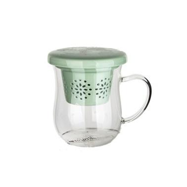 Ultraform Porselen Süzgeçli Kapaklı Oval Kupa Yeşil Yeşil
